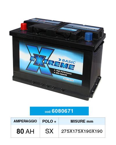 pas cher gros en ligne grande remise Batteria Auto 80AH Extreme 6080671 polo positivo a sinistra